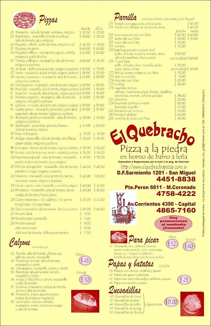 El Quebracho Pizzas Argentina