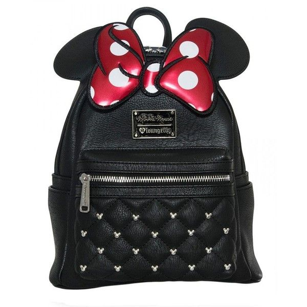 Loungefly Disney Minnie Mouse Red Bow Ears Mickey Mini Backpack Purse ($64) ❤ liked on Polyvore featuring bags, backpacks, vegan bags, faux-leather backpack, mini bag, rucksack bags and vegan leather bags