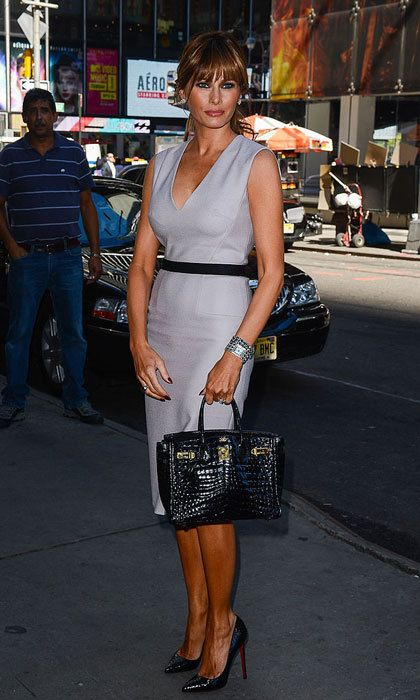 Fifty shades of chic! Donald's wife visited the ABC Times Square Studios in New York wearing a classic grey sheath dress and Christian Louboutins.  Photo: Tamarra/Getty Images