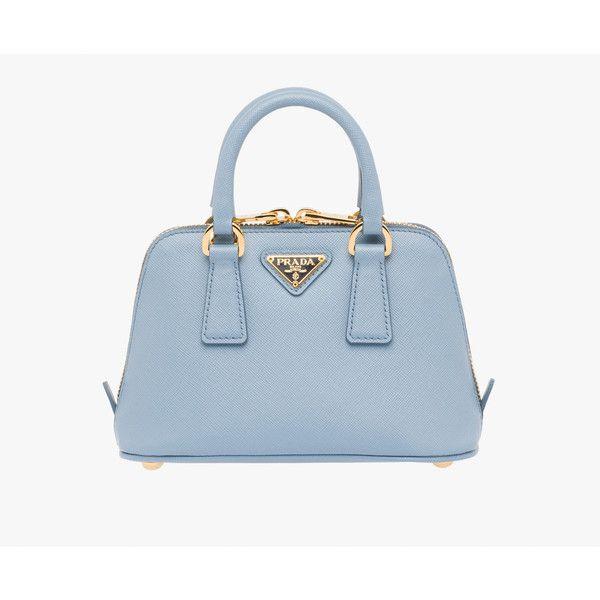 PRADA Small Bag (€1.110) ❤ liked on Polyvore featuring bags, handbags, shoulder bags, new arrivals, pale blue, women, genuine leather purse, prada shoulder bag, leather purse et mini purse