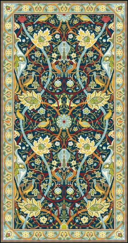 ATTENTION INTERNATIONAL CUSTOMERS: I am not able to mail printed canvas outside of US, please purchase chart. About this design: 1. CHART. Design based on original sketch of William Morris for Bullerswood carpet, one of the famous carpets designed for Hammersmith Cottage. Stitch count 311x594. Chart printed in full color with symbol size 10 stitches per inch. Color codes for Appleton wool yarn. Quantities of yarn for each color included with the chart. The chart is very easy to follow…