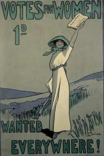 This 1909 poster, advertising the weekly suffragette newspaper Votes for Women, was designed by Hilda Dallas (1878-1958)