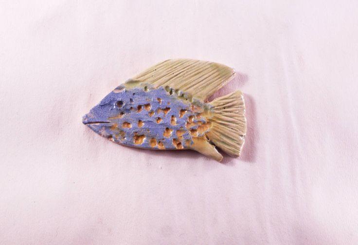 Fish ceramic magnet, ceramic magnet, handmade magnet, handmade fish, colorful fish, ceramic and pottery, blue fish, fish magnet by CeramicsNaturalist on Etsy