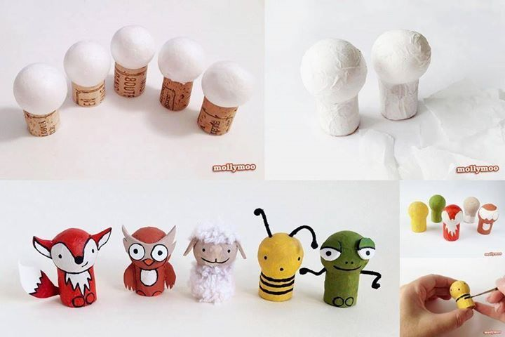 personnage avec bouchon de liège et boule polystyrène   kids craft