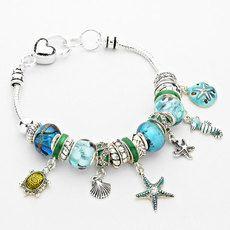 STARFISH SEA ANIMAL FULL CHARM BRACELET- BLUE
