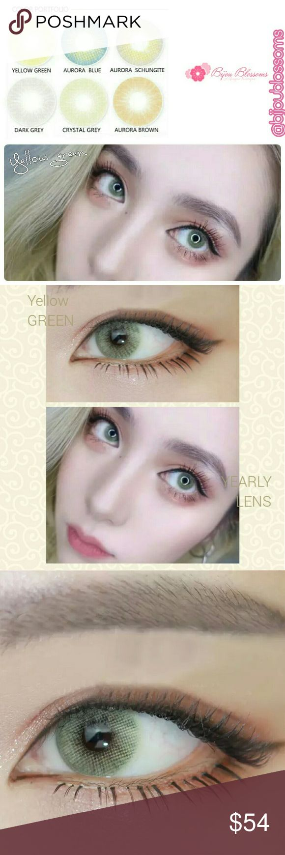 Yellow Green Hidrocor Yearly Color Contact Lenses Beautiful Aurora Series Hidrocor natural blend color contact lens. This listing is for one pair of plano -0.00 (no prescription) yearly disposable color contacts lens in the color Yellow Green.?   Details are as follows:  Expiration date: 12.2021 Base curve:8.5mm Diameter:14.2mm Center thickness: 0.08mm? Water content: 40% Main material: HEMA Lenses hardness: Soft Life span: One year  Please Note: 1.Brand new, high quality with fast shipping…
