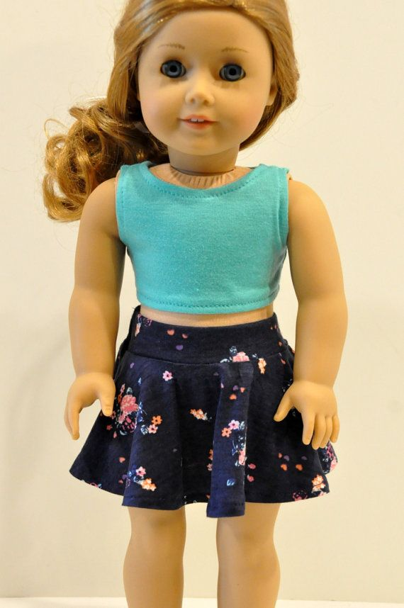 Navy floral skirt and green crop top outfit by CircleCsewing on Etsy. Made with the Trendy Skater Skirt pattern, found at http://www.pixiefaire.com/products/trendy-skater-skirt-18-doll-clothes. #pixiefaire #trendyskaterskirt