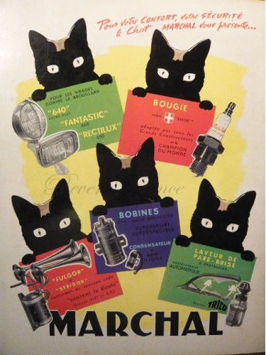 Original Vintage French Ad - Midcentury French Vintage Advert  Chat Marchal  Auto Supplies 1955 Marchal Cat by reveriefrance on Etsy