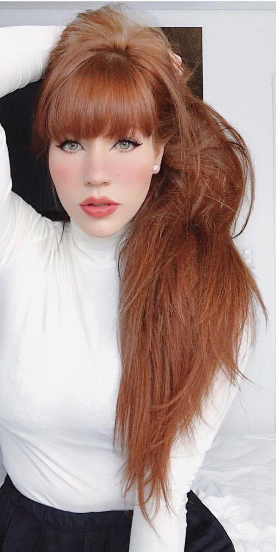 Long Hair Red Hair With Bangs Red Hair Fringe Long Hair Styles