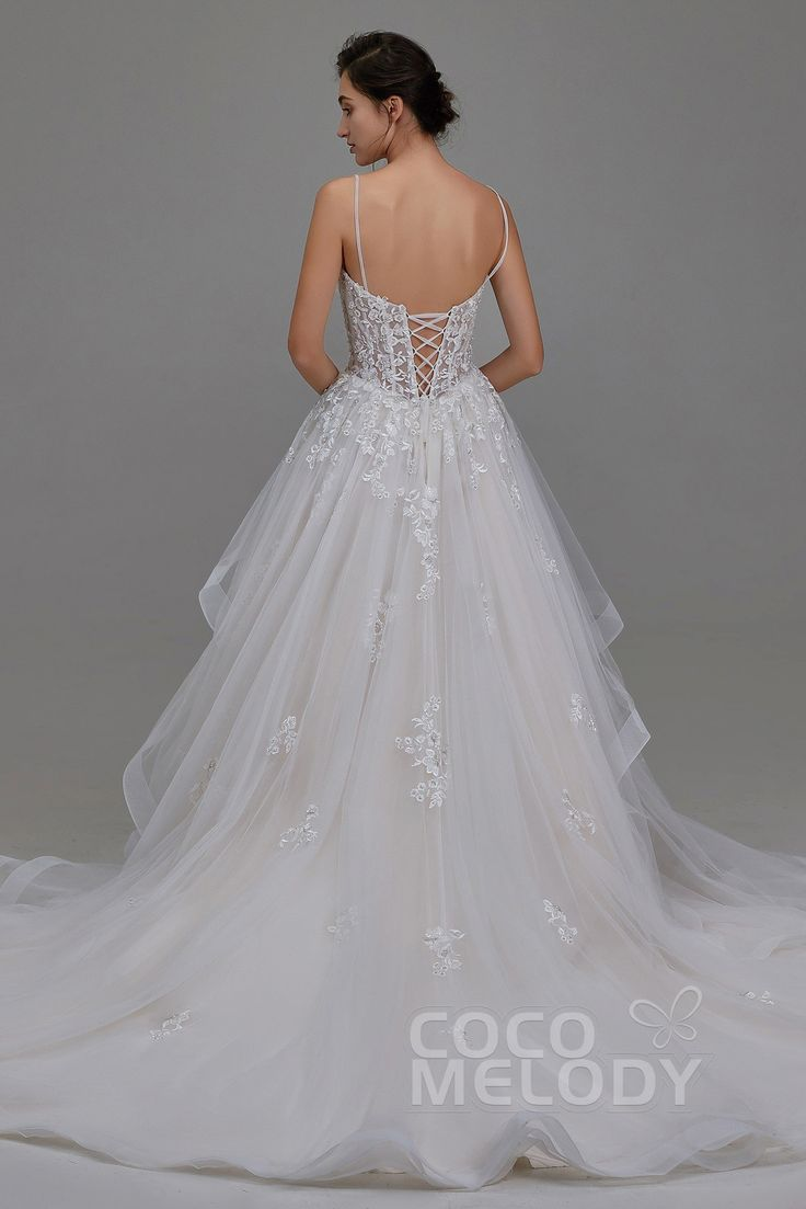 A-Line Chapel Train Tulle and Lace Wedding Dress LD5814