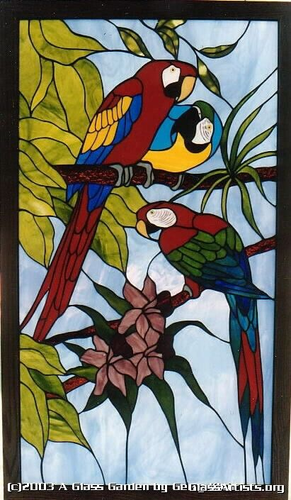 Macaws    I really want this stained glass.. Wonder where I can find it.. Prob can't afford it..lol