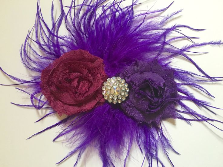 Burgundy Wine Plum  Purple Shabby Feather Fascinator,Holiday,Brides Maid Hair piece.Dance Costume,Fancy Girl BoutiqueNYC Custom Feather Hair by FancyGirlBoutiqueNYC on Etsy