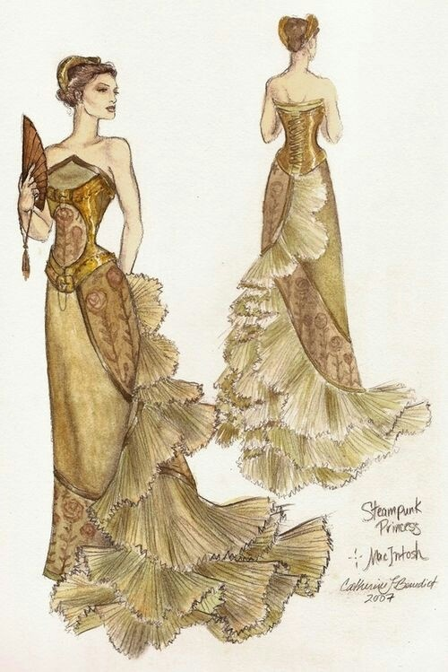 Steampunk Dress.  I love it!  The colors and decorations  are subtle and elegant.