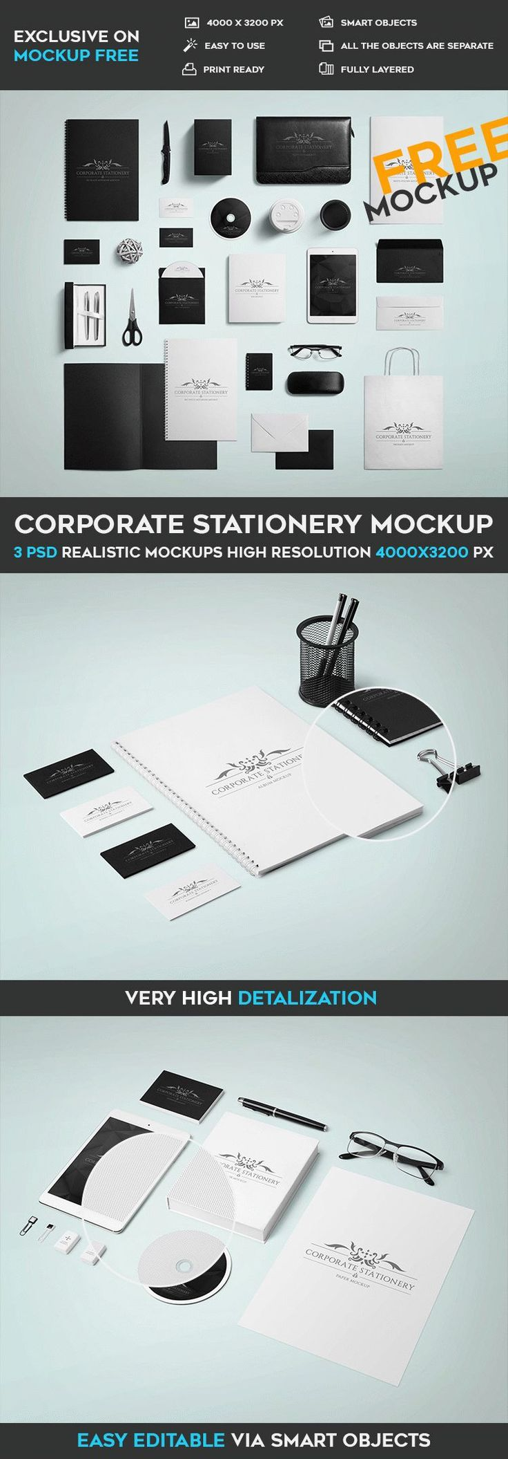Free Corporate Stationery PSD mockup #identity #brand