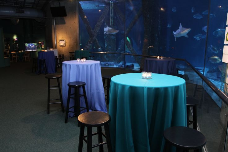 Black barstools and tables with candle centerpieces inside for Aquarium cocktail table