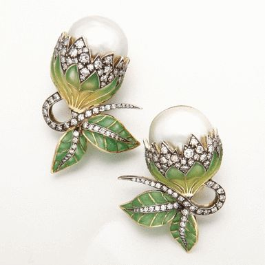 Pearl and plique-à-jour enamel and diamond jewelry, Moira, via Sotheby's