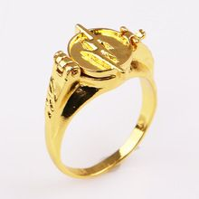 The Flash Superhero Ring with Gold Flash Lighting Logo Ring Can Open Cover