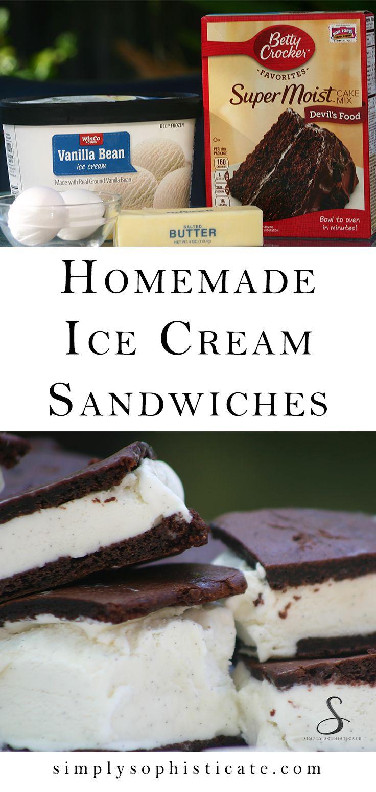 4 Ingredient Homemade Ice Cream Sandwiches