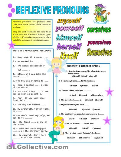 pronoun worksheet images | REFLEXIVE PRONOUNS worksheet - Free ESL printable worksheets made by ...