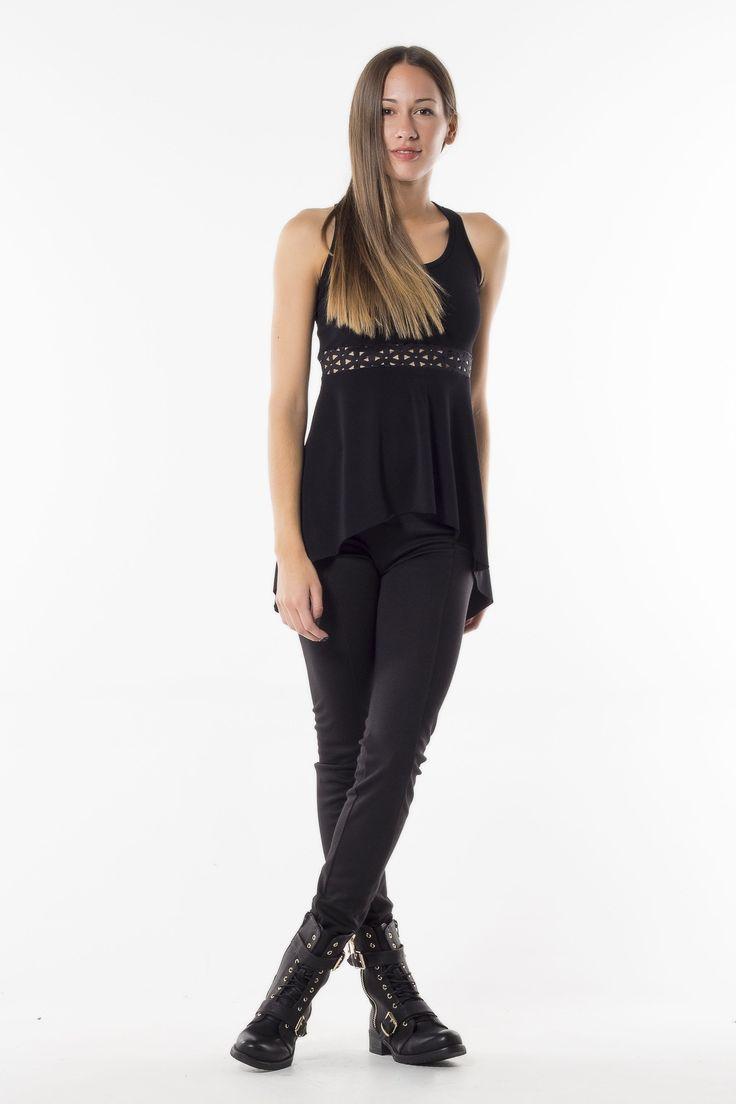 Black leather blouse