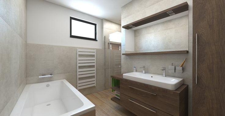 Návrh a vizualizácia kúpeľne s veľkoformátovým obkladom 75x75 cm. Paradyz Scratch a Maloe