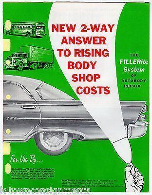 FILLERITE AUTOBODY PLASTIC PUTTY CAR REPAIR VINTAGE GRAPHIC ADVERTISING FLYER