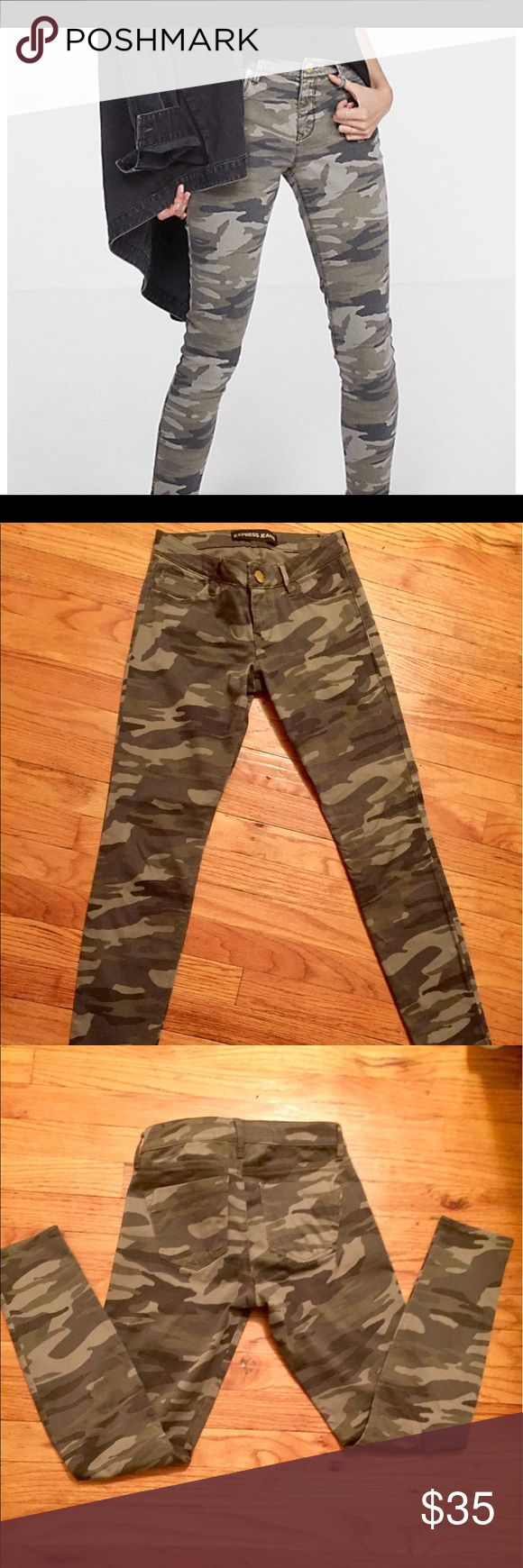 Express Camo Jean Camouflage Jean Leggings 0 NWT Express camouflage Jean leggings. Mid rise. Ankle Jeans. Size 0. New with tags. Jeans have stretch and are very comfortable. Express Jeans Ankle & Cropped