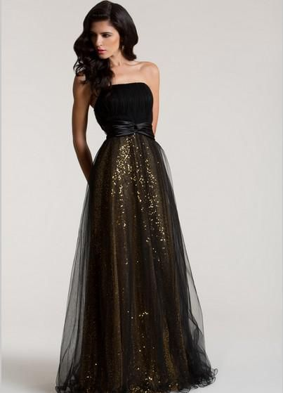Cheap black and gold prom dress