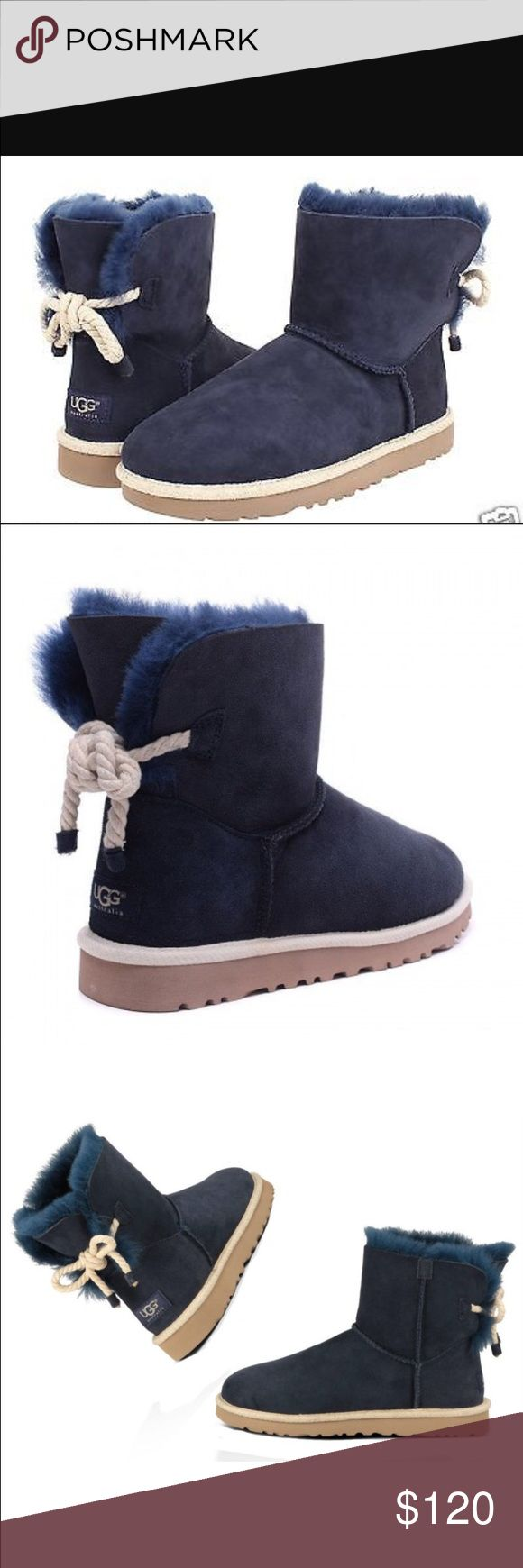 NEW UGG SELENE NÁUTICA Cal rope boot NAVY Englin's Fine Footwear presents the women's 'Selene' from UGG Australia. This adorable update to the original is calling for a coastal excursion, with its nautical rope detail and jute binding. WITHOUT BOX. UGG Shoes Ankle Boots & Booties