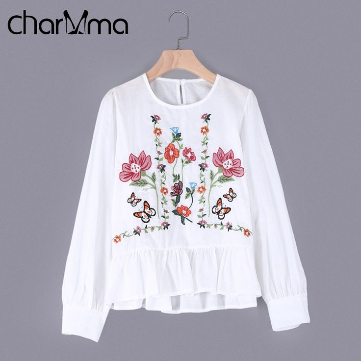 CharMma Women vintage flower embroidery full cotton shirts long sleeve ruffles pleated o neck blouse ladies casual tops 2017  #Affiliate