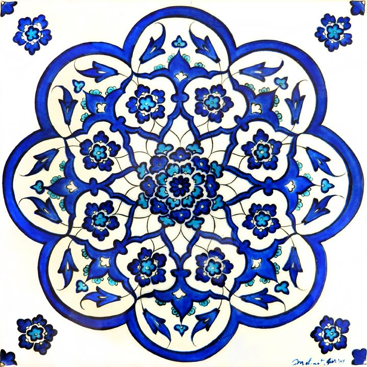Mehmet Gürsoy -- lives and works in Kütahya, Turkey where he is a master artist at İznik Çini. This delicate tile features a radially symmetrical design referencing plates made during the high period of Iznik ceramic production during the Ottoman Empire.