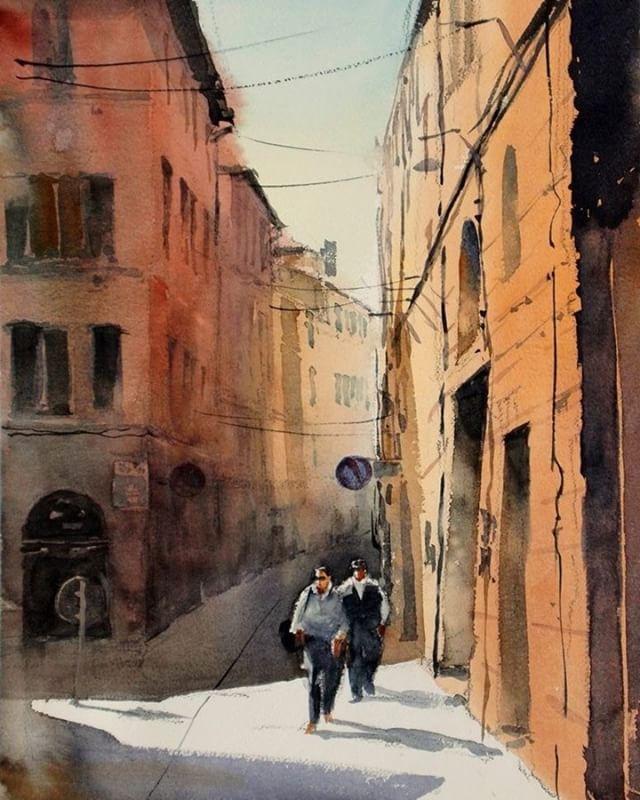 in Italy #watercolor #Italy #水彩画 #風景画 #siena #kazuokasai #cityscape #cafe #siesta #シエナ #イタリア