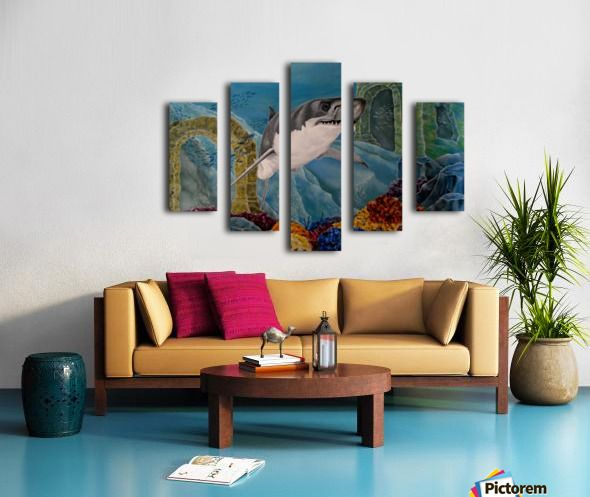 Polyptych, 5 split, stretched, canvas, multi panel, prints, for sale, shark, painting, underwater…