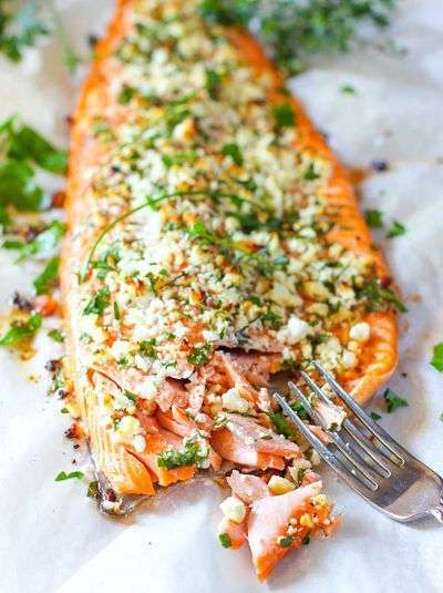 Feta and Herb Crusted Salmon | Serve with a side of Mahatma Brown or White Rice for a delicious dinner meal.