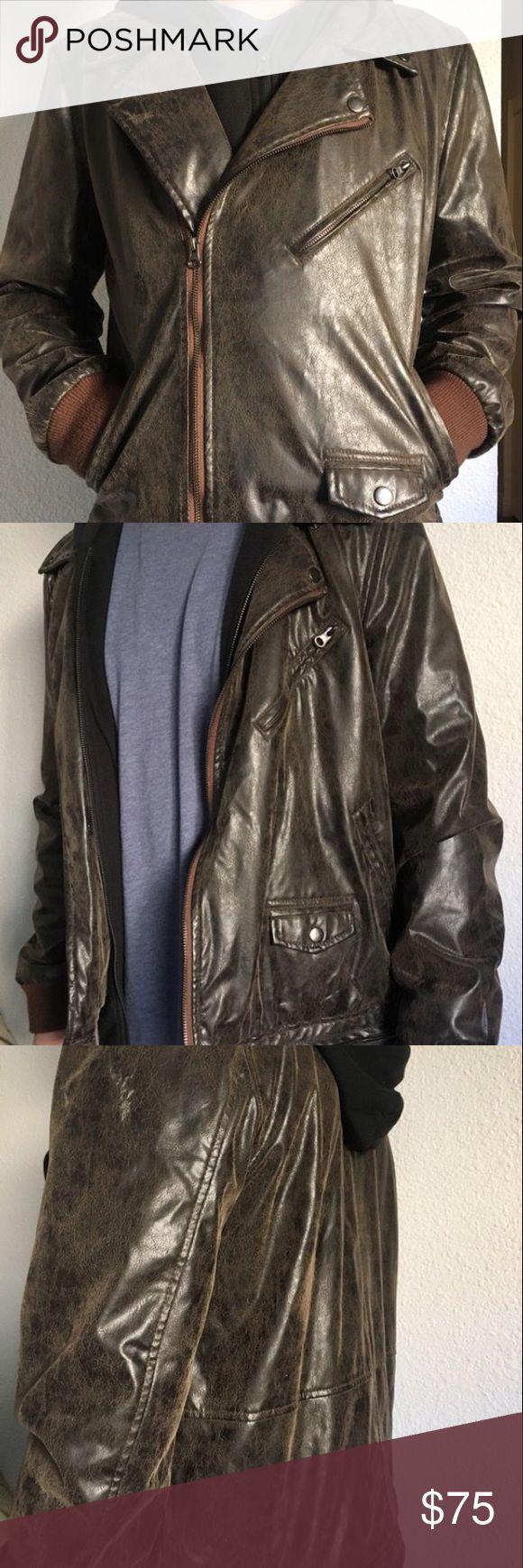 Obey Men's XL Dark Brown Leather Jacket w/Hoodie Obey Propaganda  Men's Dark Brown Faux Leather Jacket with Hoodie  Never worn Obey Jackets & Coats Bomber & Varsity