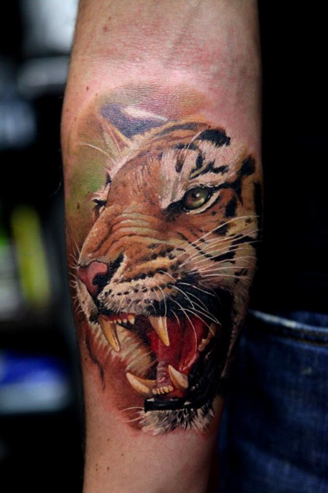Tiger forearm by dmitriy samohin tattoos animal tattoos for Tiger forearm tattoo