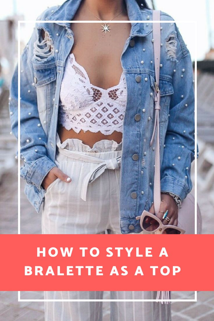 3f09dd1df331 Sunday Funday Denim Trucker Jacket - The House of Sequins. How to style a free  people bralette as a top