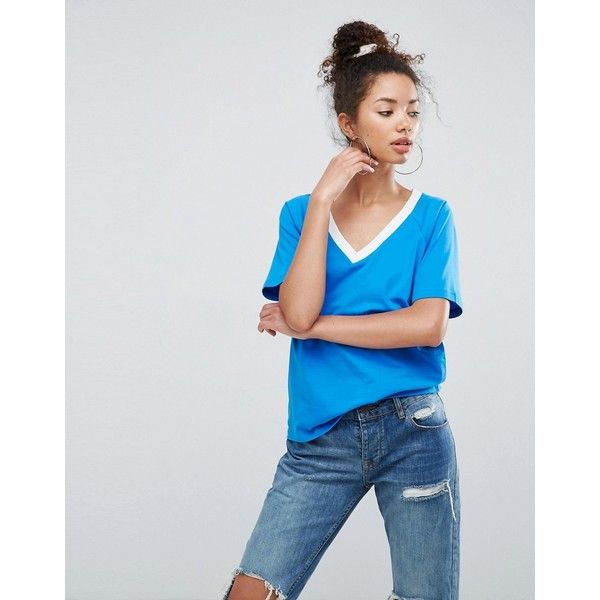 ASOS T-Shirt in Boyfriend Fit With Contrast V-Neck ($15) ❤ liked on Polyvore featuring tops, t-shirts, blue, shining t shirt, tall t shirts, raglan t shirt, party tops and boyfriend v neck tee