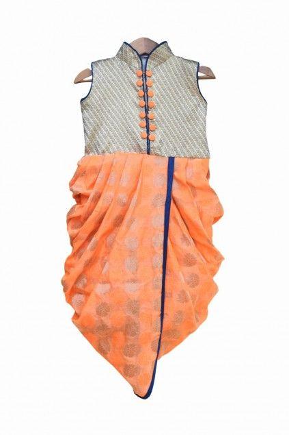 Dhoti Style Ready to Wear Neon Orange Dress. #ethenicdress #luxury #babydressindia #premiumdesignerdress #dhotistyle #designerdress #princessdress #pinkblueindia #traditional #customize