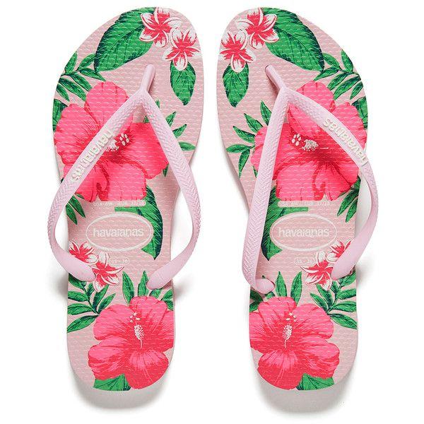 Havaianas Women's Slim Floral Flip Flops - Crystal Rose ($37) ❤ liked on Polyvore featuring shoes, sandals, flip flops, pink, hawaiian flip flops, rubber sandals, pink sandals, rubber thong sandals and strap sandals