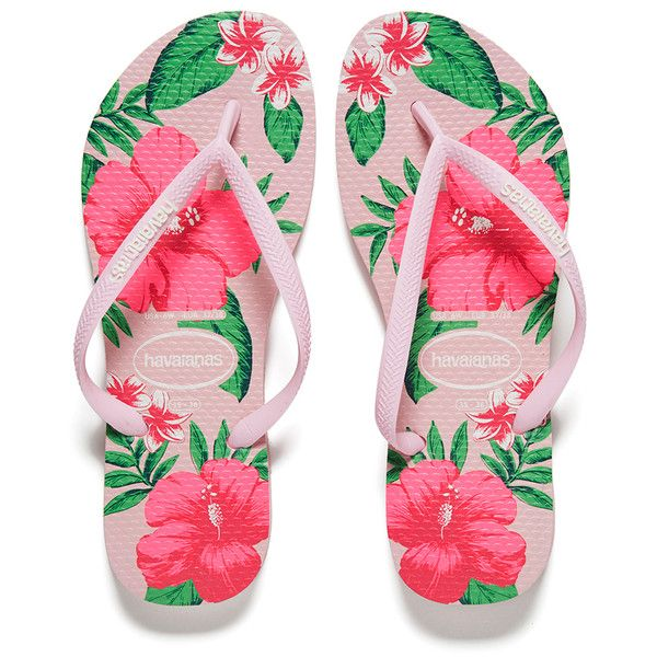 Havaianas Women's Slim Floral Flip Flops ($37) ❤ liked on Polyvore featuring shoes, sandals and flip flops