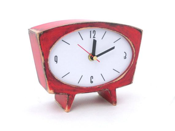 FREE SHIPPING  Desk Clock Red Table clock Wood by ClockWoodStudio