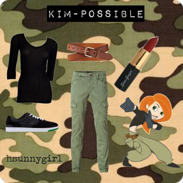 Kim Possible Inspired, created by hsunnygirl on Polyvore. Yes I would base my outfit off a cartoon. Sounds like the best idea ever!!