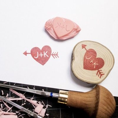 Arrow and Heart, Custom Handmade Stamp by @ttyr