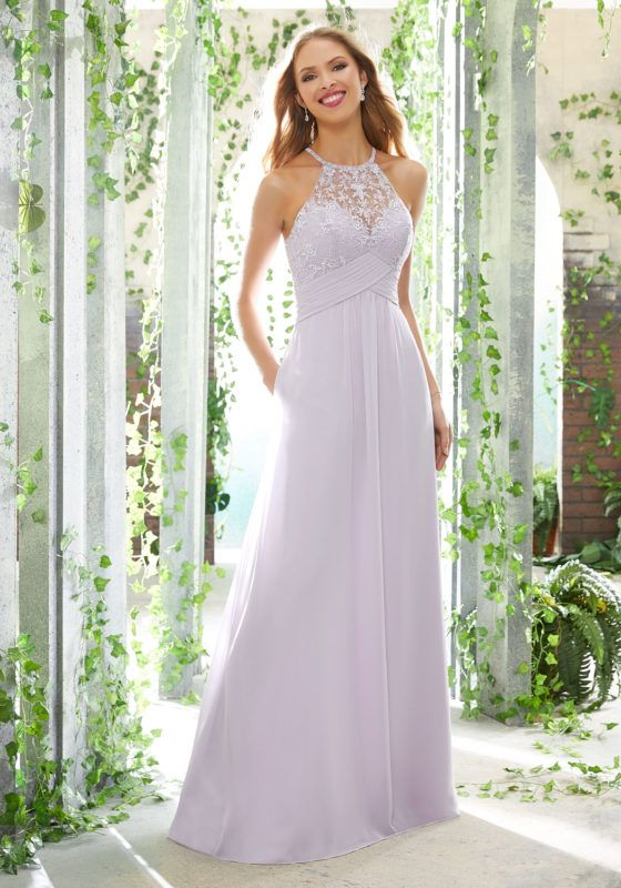 e562b51395e One Shoulder Chiffon Bridesmaids Dress with Removable Shoulder Bow