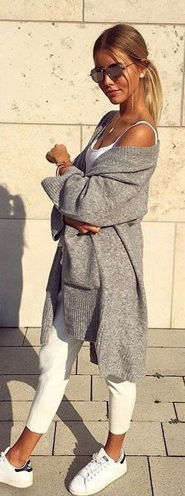 #spring #outfits woman wearing gray cardigan and white scoop-neck shirt. Pic by @fantasy.in.fashion