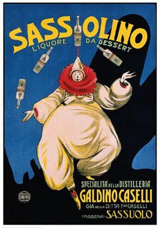 Sassolino Vintage Liquor Ad Giclee Art Print