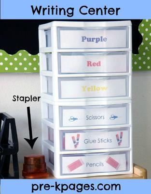 Writing center storage drawers via www.pre-kpages.com
