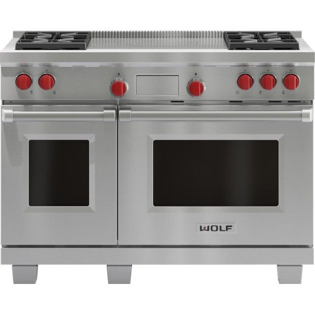 Wolf Df484f 48 Dual Fuel Range With 4 Sealed Burners French Top In Stainless Steel Dual Fuel Range Cookers Range Cooker Self Cleaning Ovens