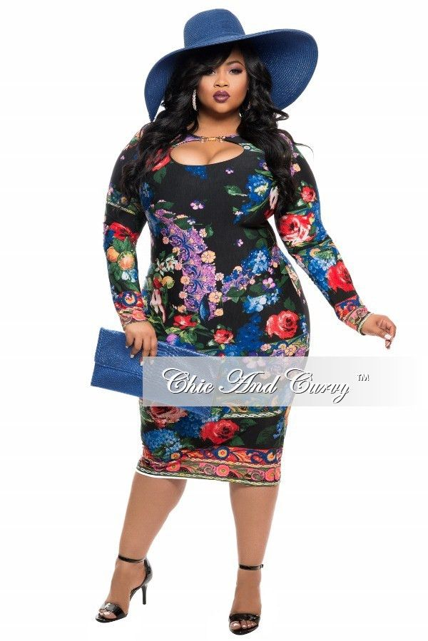 BodyCon Dress with Cutout in Black Blue, Red and Green – Chic And Curvy